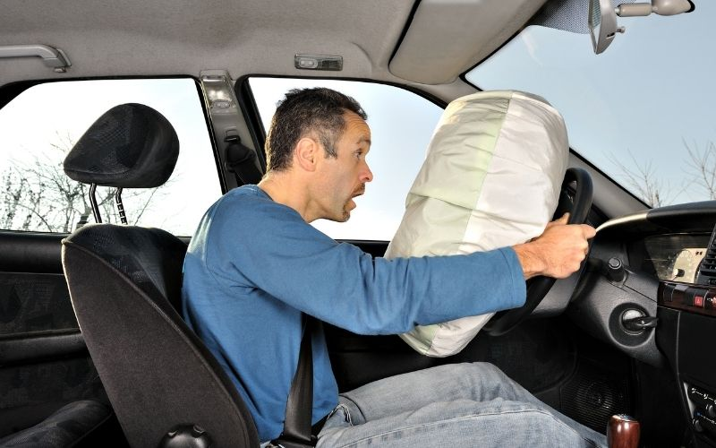 An airbag accidentally deploying