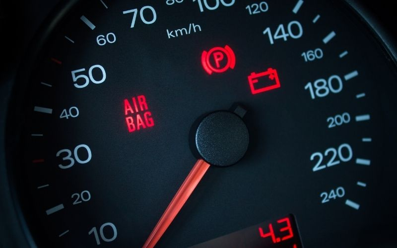 The airbag indicator light describes a malfunction with the SRS system.