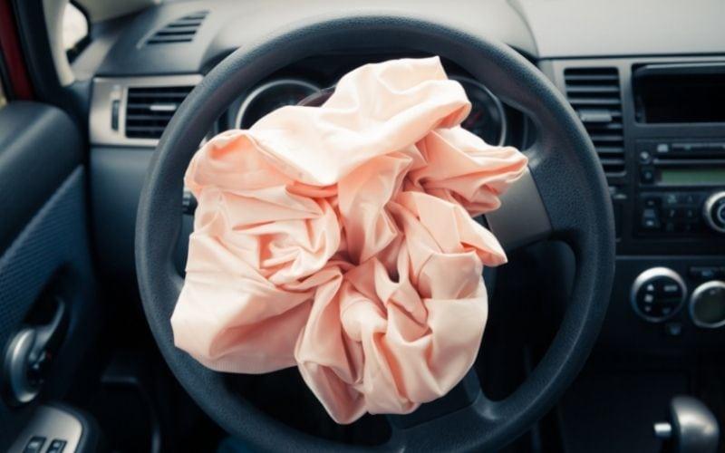 Deployed steering wheel airbag