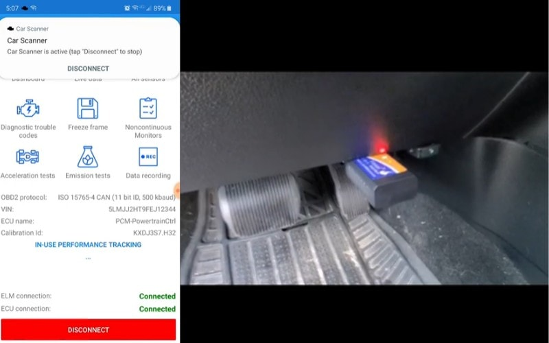 InCarDoc app successfully connected to the adapter