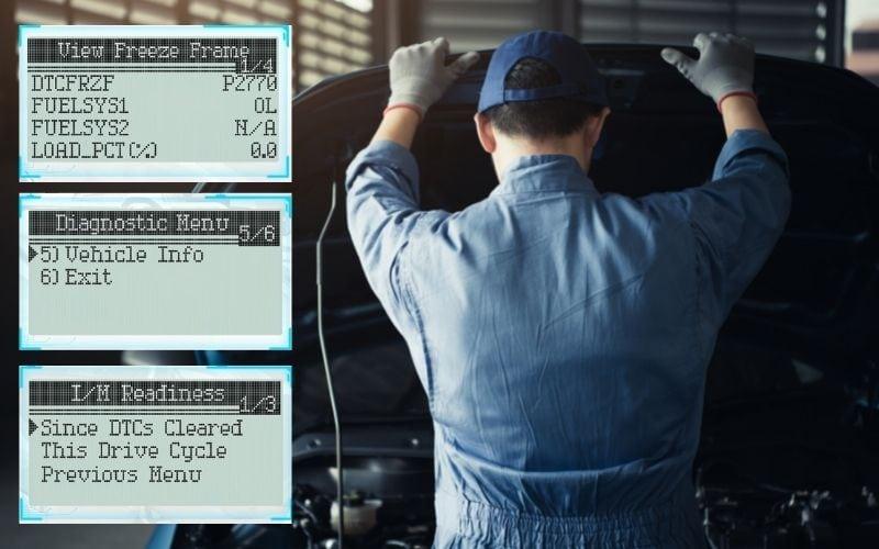 Information displayed on an OBD2 code reader
