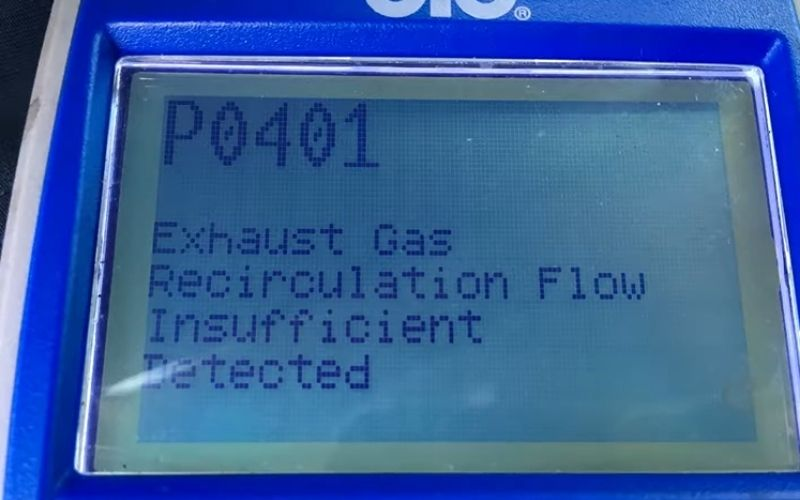 OBD2 scanner showing P0401 trouble code