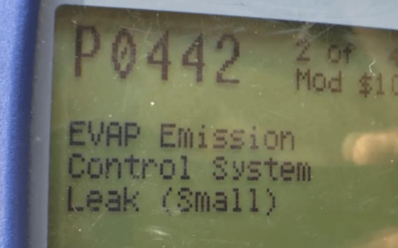 OBD2 scanner showing P0442 code