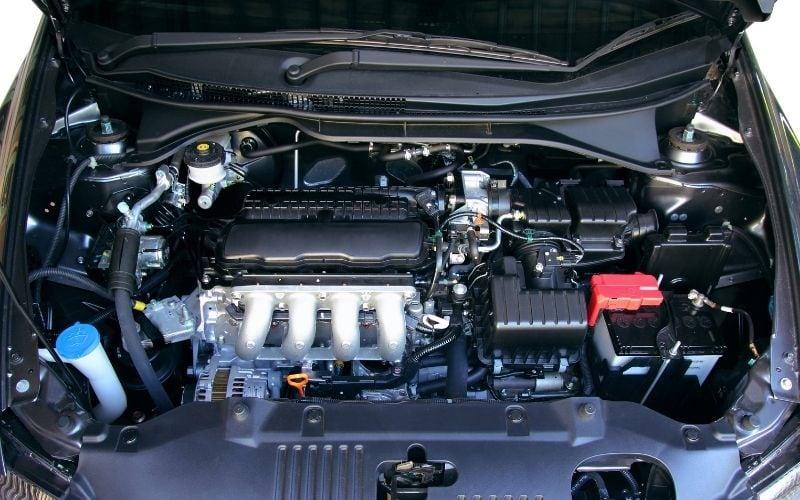 an open car hood