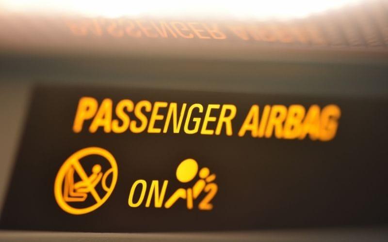 Passenger airbag on light