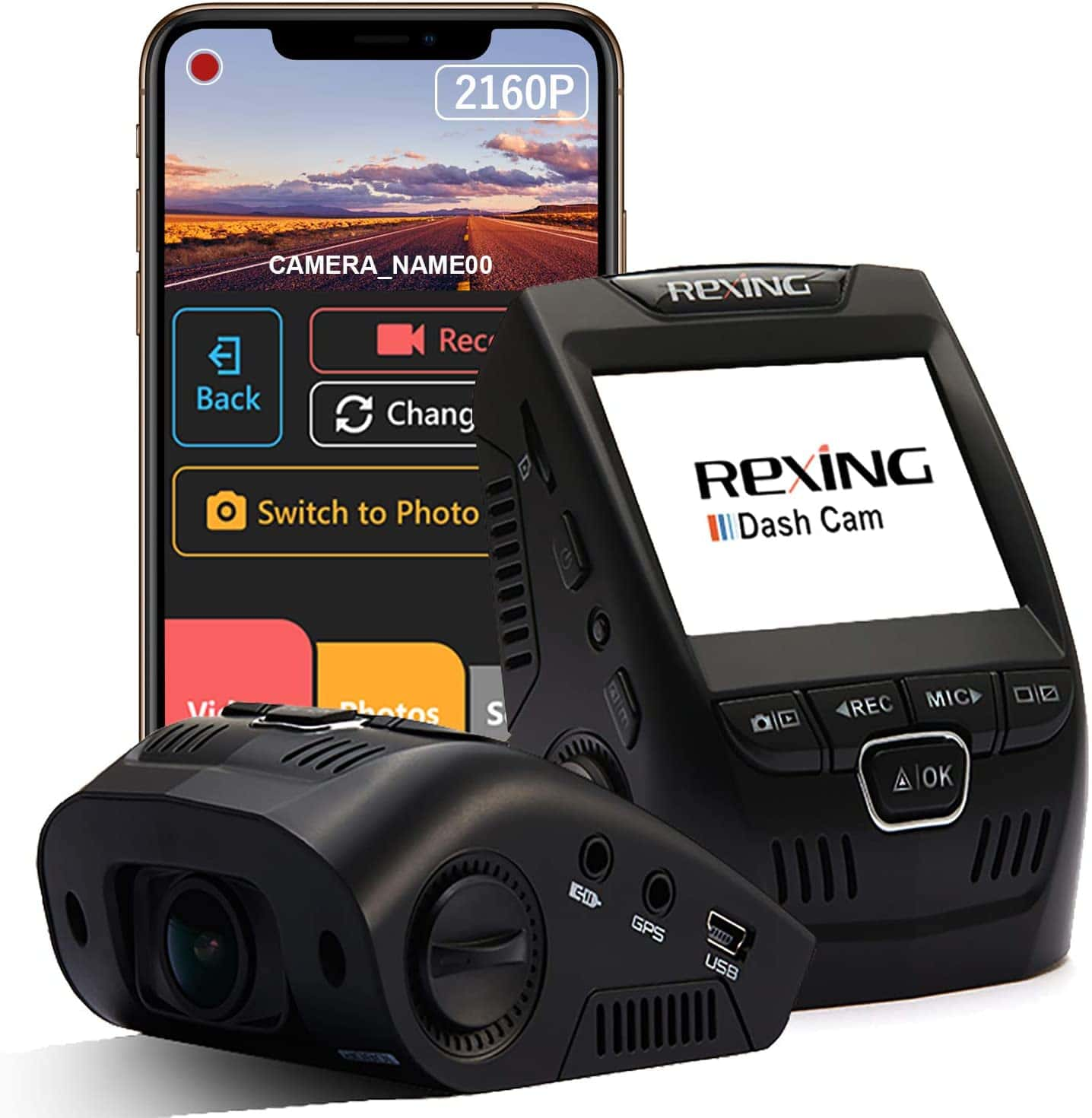 Rexing dashcam and mobile device