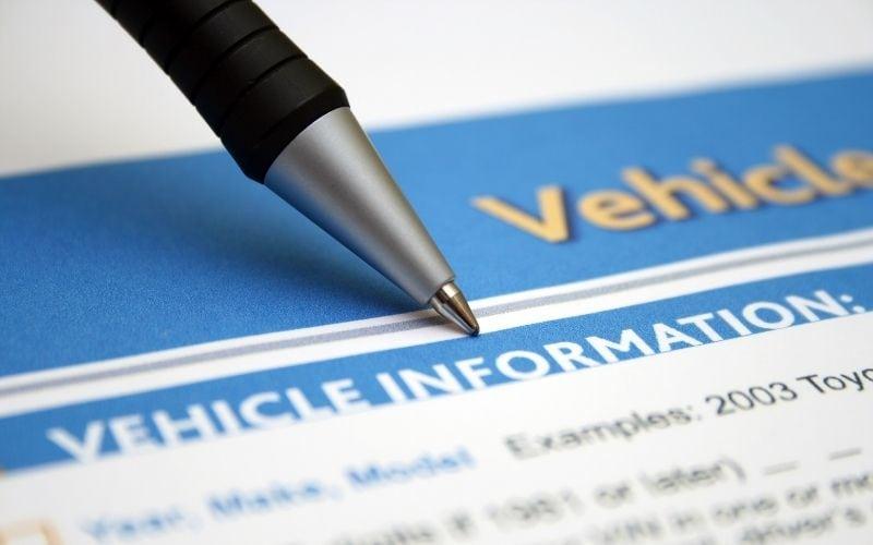 Vehicle information sheet